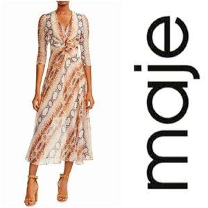 MAJE Repena Python Snake Print Crepe Midi Dress-S